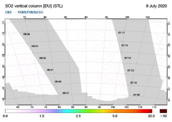 OMI - SO2 vertical column of 09 July 2020