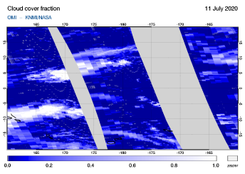 OMI - Cloud cover fraction of 11 July 2020