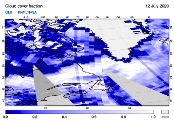 OMI - Cloud cover fraction of 12 July 2020