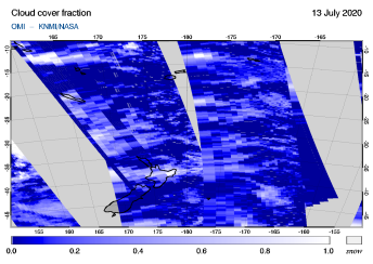 OMI - Cloud cover fraction of 13 July 2020