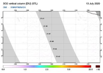 OMI - SO2 vertical column of 13 July 2020