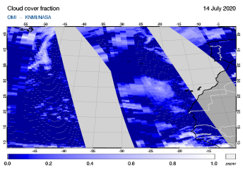 OMI - Cloud cover fraction of 14 July 2020