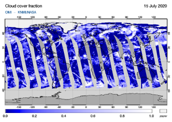 OMI - Cloud cover fraction of 15 July 2020