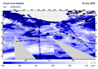 OMI - Cloud cover fraction of 16 July 2020
