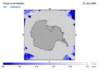 OMI - Cloud cover fraction of 21 July 2020