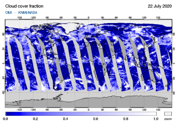 OMI - Cloud cover fraction of 22 July 2020