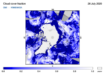 OMI - Cloud cover fraction of 26 July 2020