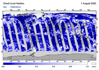 OMI - Cloud cover fraction of 01 August 2020