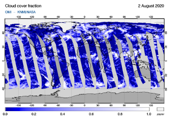 OMI - Cloud cover fraction of 02 August 2020