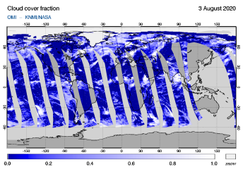 OMI - Cloud cover fraction of 03 August 2020
