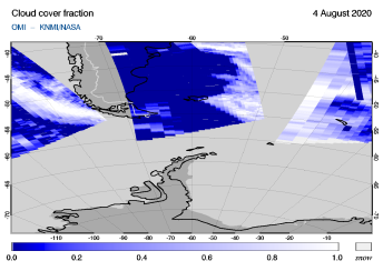 OMI - Cloud cover fraction of 04 August 2020