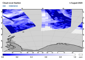OMI - Cloud cover fraction of 05 August 2020