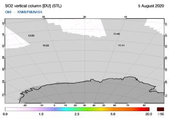 OMI - SO2 vertical column of 05 August 2020