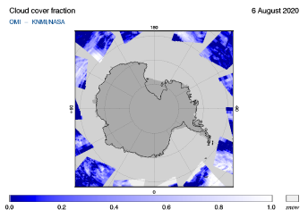 OMI - Cloud cover fraction of 06 August 2020