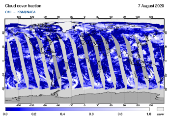 OMI - Cloud cover fraction of 07 August 2020