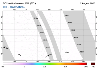 OMI - SO2 vertical column of 07 August 2020