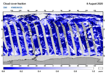 OMI - Cloud cover fraction of 08 August 2020
