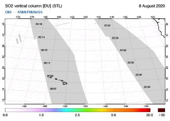 OMI - SO2 vertical column of 08 August 2020