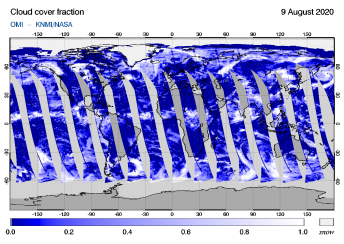 OMI - Cloud cover fraction of 09 August 2020