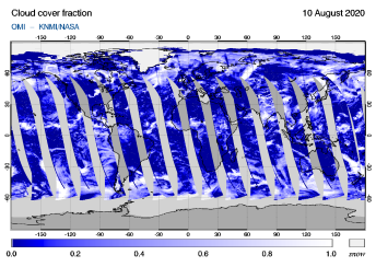 OMI - Cloud cover fraction of 10 August 2020
