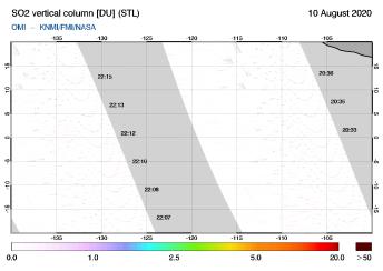 OMI - SO2 vertical column of 10 August 2020