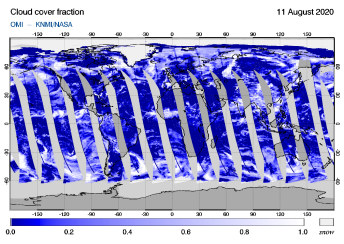 OMI - Cloud cover fraction of 11 August 2020
