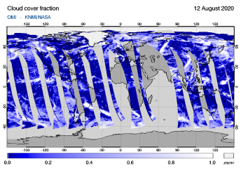 OMI - Cloud cover fraction of 12 August 2020
