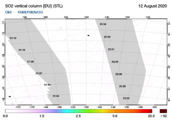 OMI - SO2 vertical column of 12 August 2020
