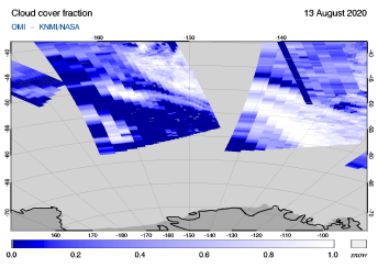 OMI - Cloud cover fraction of 13 August 2020