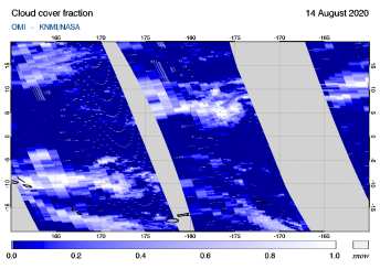 OMI - Cloud cover fraction of 14 August 2020