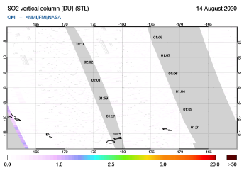 OMI - SO2 vertical column of 14 August 2020