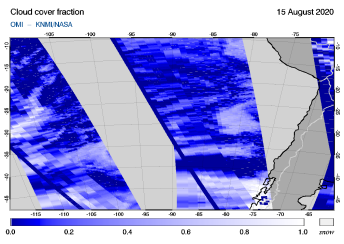 OMI - Cloud cover fraction of 15 August 2020