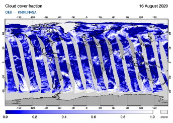 OMI - Cloud cover fraction of 16 August 2020