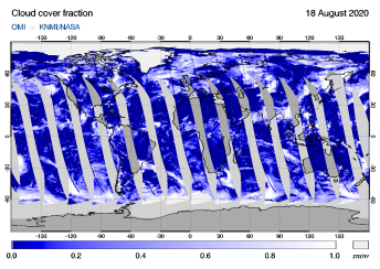 OMI - Cloud cover fraction of 18 August 2020