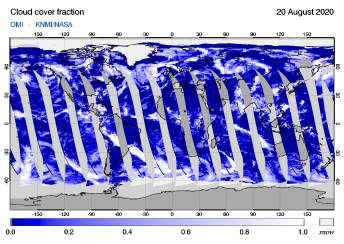 OMI - Cloud cover fraction of 20 August 2020