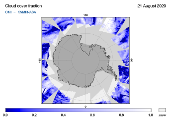 OMI - Cloud cover fraction of 21 August 2020