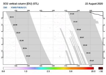 OMI - SO2 vertical column of 22 August 2020