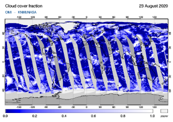 OMI - Cloud cover fraction of 23 August 2020