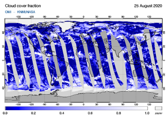 OMI - Cloud cover fraction of 25 August 2020