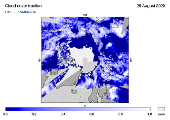 OMI - Cloud cover fraction of 26 August 2020