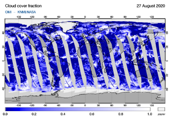 OMI - Cloud cover fraction of 27 August 2020