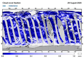 OMI - Cloud cover fraction of 29 August 2020