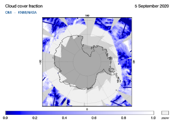 OMI - Cloud cover fraction of 05 September 2020