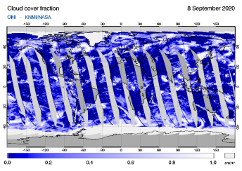 OMI - Cloud cover fraction of 08 September 2020