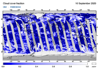 OMI - Cloud cover fraction of 10 September 2020