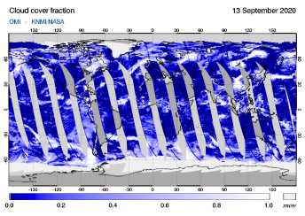 OMI - Cloud cover fraction of 13 September 2020