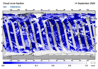 OMI - Cloud cover fraction of 14 September 2020