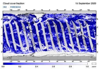 OMI - Cloud cover fraction of 15 September 2020
