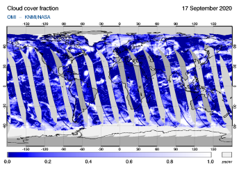 OMI - Cloud cover fraction of 17 September 2020