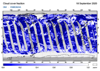 OMI - Cloud cover fraction of 18 September 2020